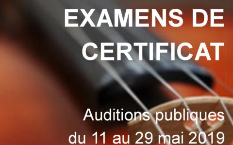 Programme des examens de certificat