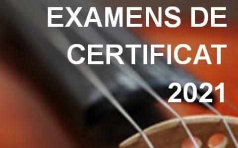 Programme des examens de certificat 2021